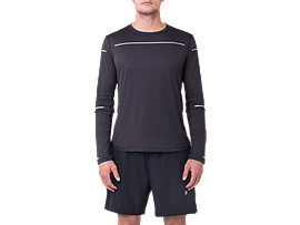 Front Top view of Lite-Show Langarm-Running Top für Herren, PERFORMANCE BLACK