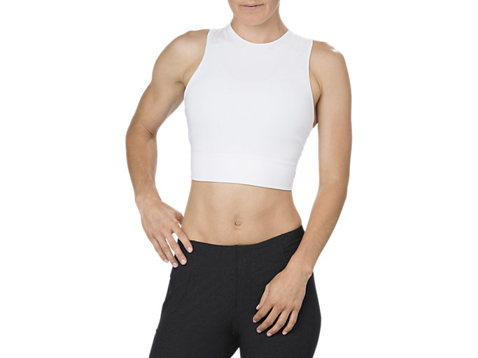 Front Top view of BEST CROP TANK TOP, BRILLIANT WHITE
