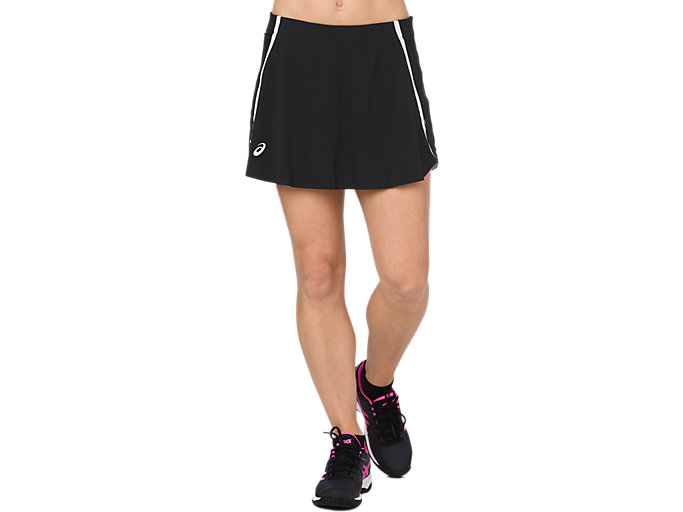Front Top view of SKORT, PERFORMANCE BLACK