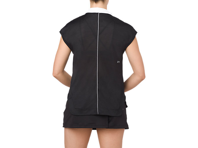 Back view of CLASSIC POLO TOP, PERFORMANCE BLACK