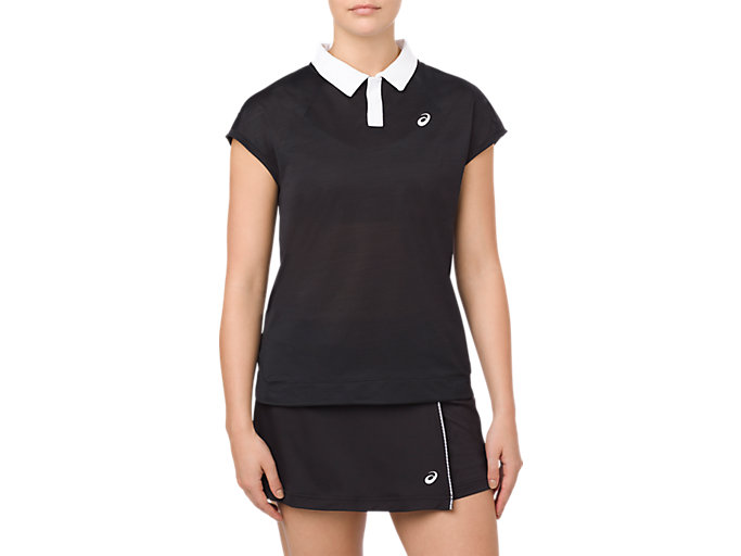 Front Top view of CLASSIC POLO TOP, PERFORMANCE BLACK