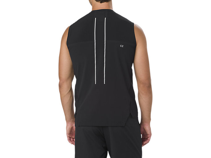 Back view of BEST SLEEVELESS TOP, PERFORMANCE BLACK