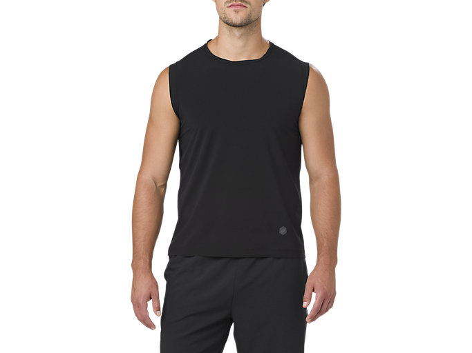 Front Top view of BEST SLEEVELESS TOP, PERFORMANCE BLACK