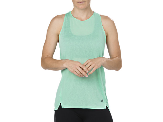 Front Top view of COOL TANKTOP, OPAL GREEN