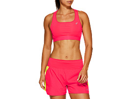 Front Top view of RUN BRA, LASER PINK
