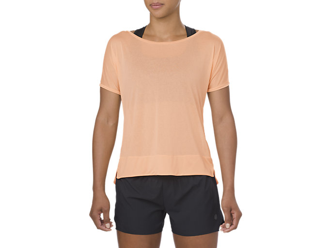 Front Top view of CROP TOP, APRICOT ICE