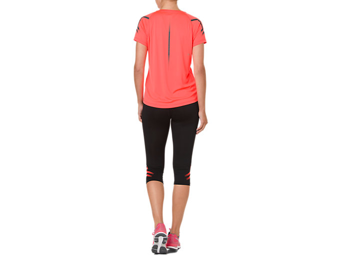 Back view of ICON SS TOP, FLASH CORAL/DARK GREY