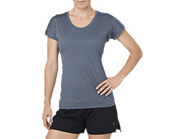 TOP MET KAPMOUWEN, DARK BLUE HEATHER