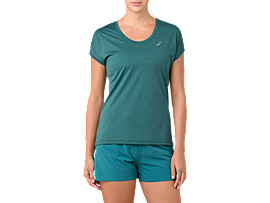 Front Top view of CAPSLEEVE TOP, EVERGLADE HEATHER