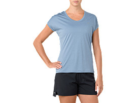 Front Top view of CAPSLEEVE TOP, AZURE HEATHER