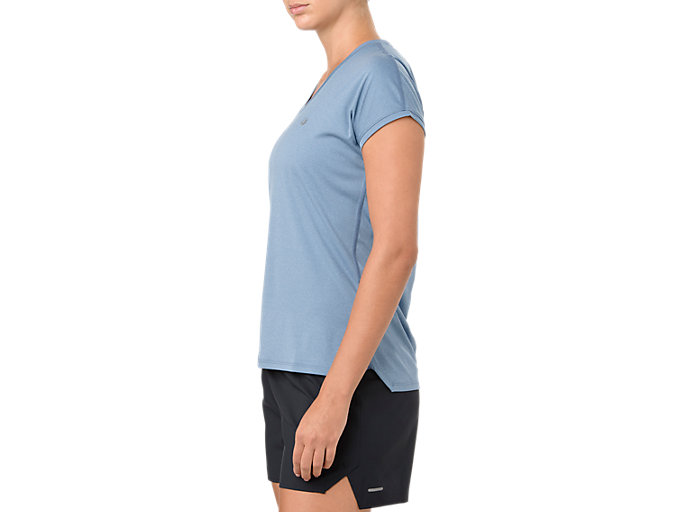 Alternative image view of CAPSLEEVE TOP, AZURE HEATHER