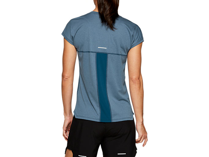 Back view of CAPSLEEVE TOP, MAKO BLUE HEATHER