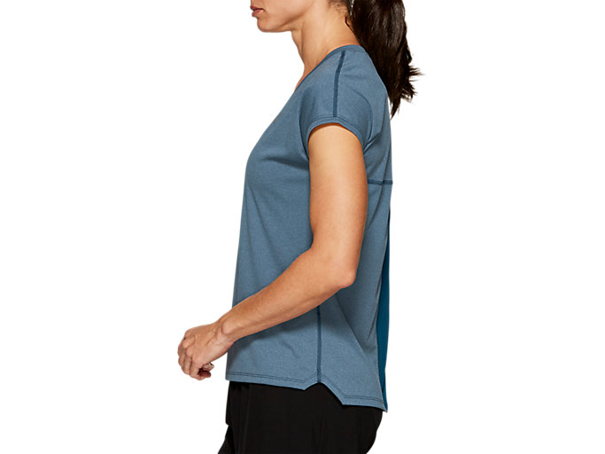 Side view of CAPSLEEVE TOP, MAKO BLUE HEATHER
