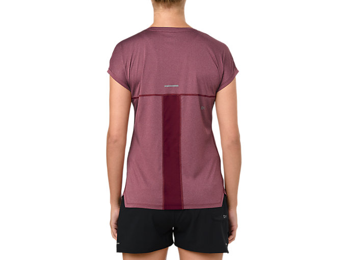 Back view of CAPSLEEVE TOP, CORDOVAN HEATHER
