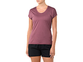 Front Top view of CAPSLEEVE TOP, CORDOVAN HEATHER