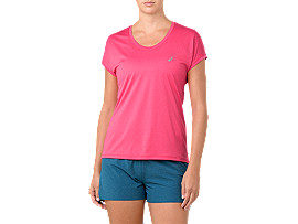 CAPSLEEVE TOP, PIXEL PINK HEATHER