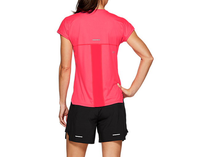 Back view of CAPSLEEVE TOP, LASER PINK HEATHER