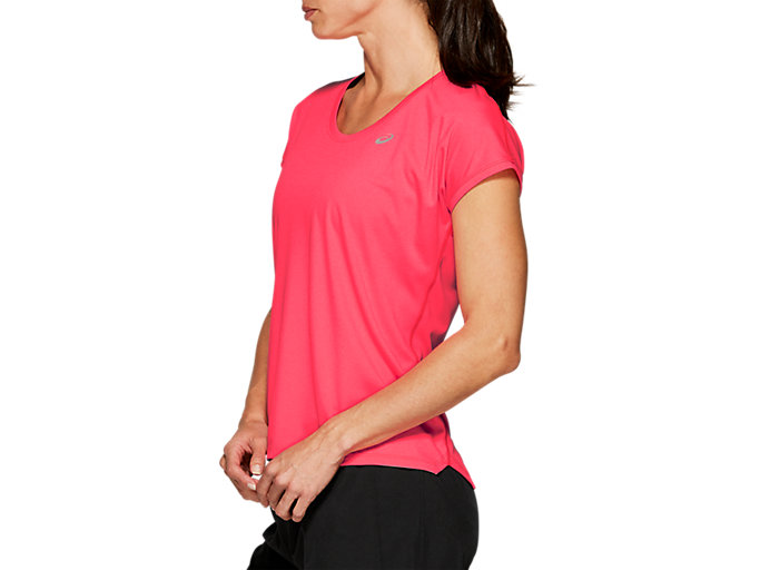 Side view of CAPSLEEVE TOP, LASER PINK HEATHER