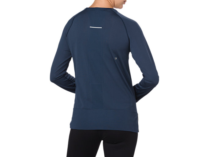 Back view of SEAMLESS LS, DARK BLUE