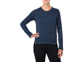 Front Top view of SEAMLESS LS, DARK BLUE