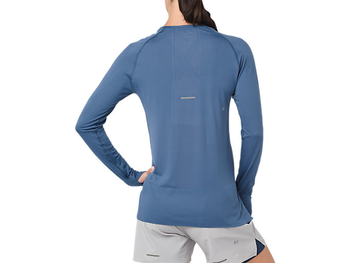 Back view of SEAMLESS LS, AZURE
