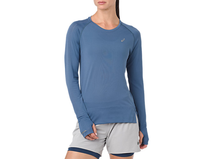 Front Top view of SEAMLESS LS, AZURE