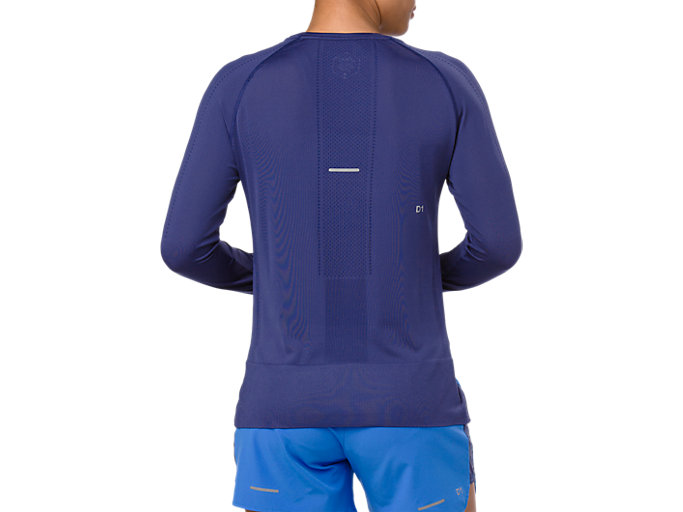 Back view of SEAMLESS LS, INDIGO BLUE