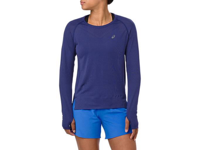 Front Top view of SEAMLESS LS, INDIGO BLUE
