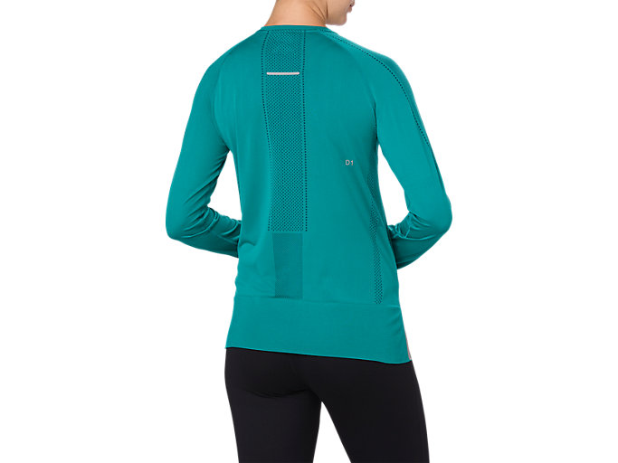 Back view of SEAMLESS LS, LAKE BLUE