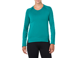 Front Top view of SEAMLESS LS, LAKE BLUE