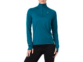 Front Top view of THERMOPOLIS LS 1/2 ZIP, DEEP AQUA