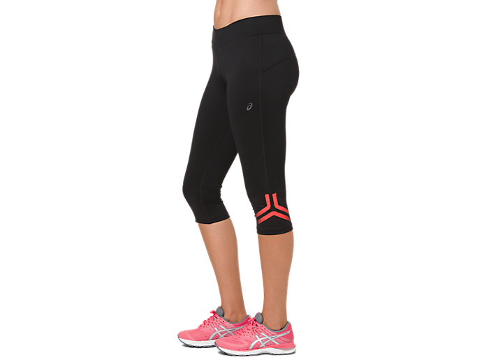 Side view of ICON KNEE TIGHT, PERFORMANCE BLACK/FLASH CORAL