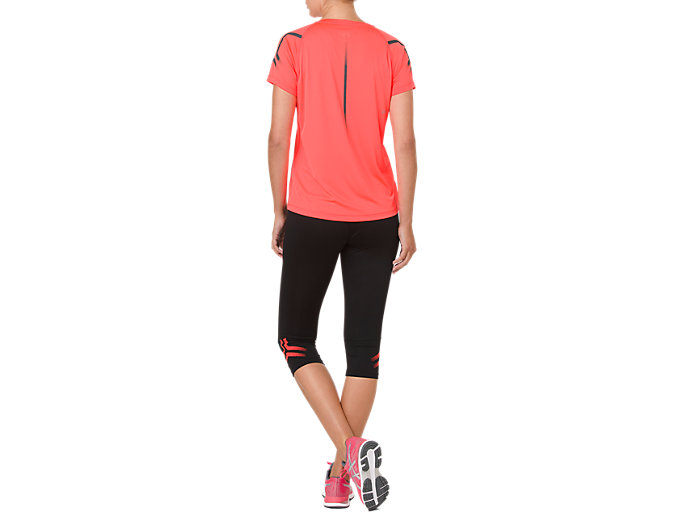 Back view of ICON KNEE TIGHT, PERFORMANCE BLACK/FLASH CORAL