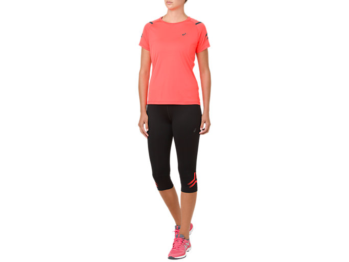 Front Top view of ICON KNEE TIGHT, PERFORMANCE BLACK/FLASH CORAL
