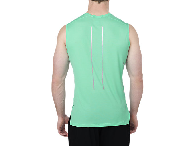 Back view of LITE-SHOW SLEEVELESS, OPAL GREEN