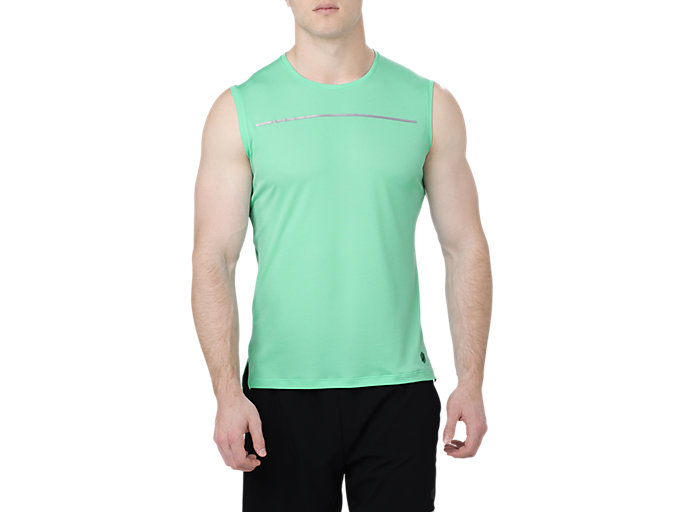 Front Top view of LITE-SHOW SLEEVELESS, OPAL GREEN