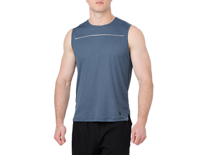 Front Top view of LITE-SHOW SLEEVELESS, DARK BLUE
