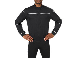 Front Top view of Chaqueta de running Lite-show para hombre, PERFORMANCE BLACK