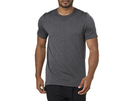 Front Top view of SEAMLESS SS, DARK GREY HEATHER