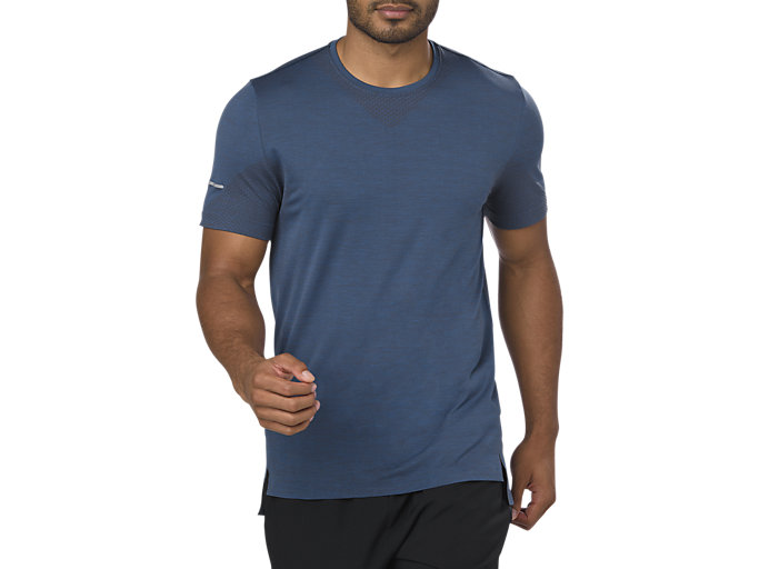 Front Top view of SEAMLESS SS, DARK BLUE HEATHER