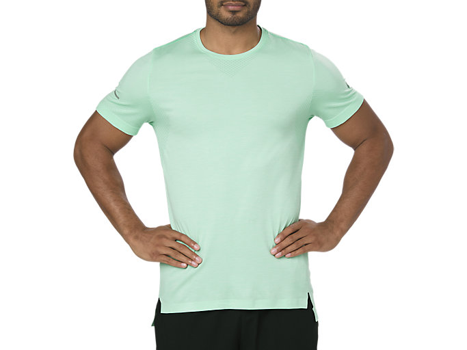 Front Top view of SEAMLESS SS, OPAL GREEN HEATHER