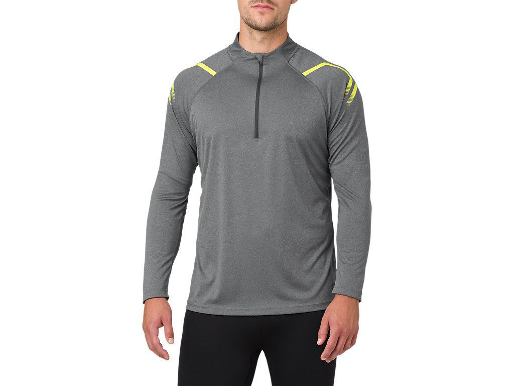 ASICS ICON ZIP - T-shirt de sport - performance black/dark grey UJ3uL