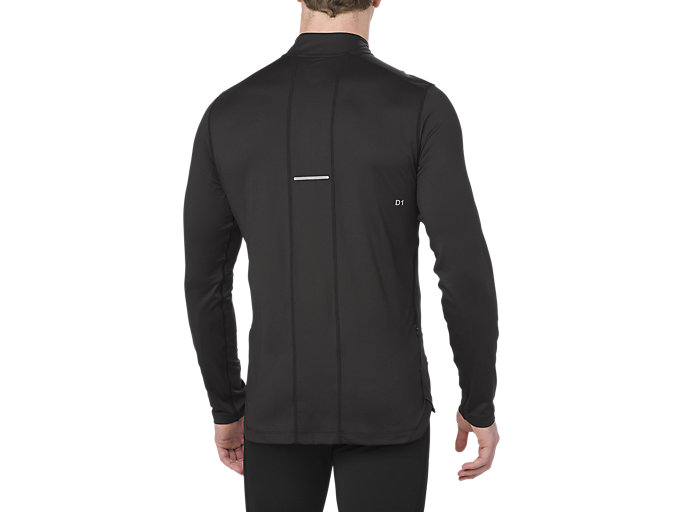 Back view of LS 1/2 ZIP JERSEY, PERFORMANCE BLACK