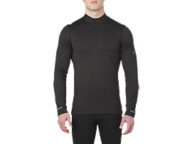 Front Top view of LS 1/2 ZIP JERSEY, PERFORMANCE BLACK