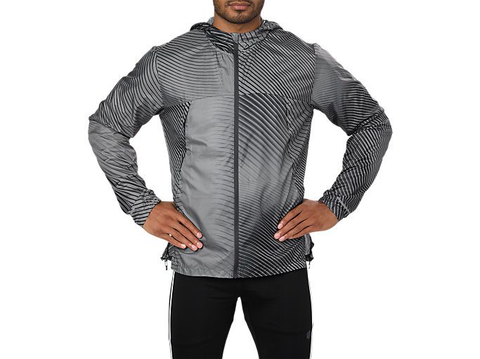 Front Top view of PACKABLE JACKET, LINEAR DARK GREY