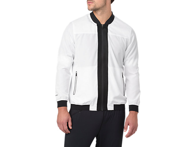 Front Top view of BOMBER JACKET, BRILLIANT WHITE