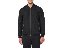 Front Top view of BOMBER JACKET, PERFORMANCE BLACK