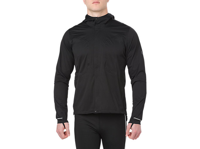 Front Top view of ACCELERATE JACKET, PERFORMANCE BLACK
