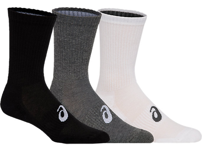Front Top view of 3PPK CREW SOCK, COL ASSORTED