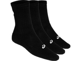 Front Top view of 3PPK CREW SOCK, BLACK